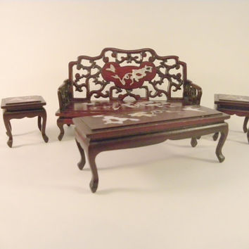 Asian Chinoiserie Rosewood Inlaid Mother of Pearl Miniature Furniture Doll House Vintage Settee Coffee Table Side Tables 4 Pieces