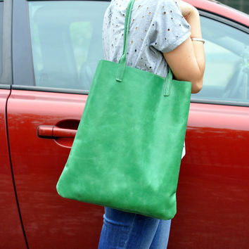 Green Leather Tote Bag-Handmade Large Tote Bag / Lady Bag / Shopper Bag / Shoulder Bag
