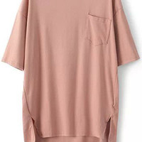 Pink Pocket Short Sleeve T-Shirt