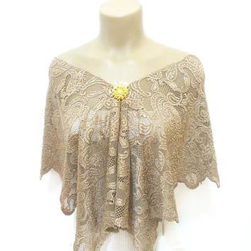 Lace Shawl, Lace Capelet, Scarf, Brooch Shawl, Free Shipping, Neck collar, Brown, Costume Design, Wrap, French Lace Shawl, Brown Laced Shawl