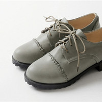 Vintage Hot Sale Woman Round Toe Square Low Heel Lace Up Oxfords Female Casual Comfort Collegiate Shoes Plus Size EUR35 43-in Women's Flats from Shoes on Aliexpress.com | Alibaba Group