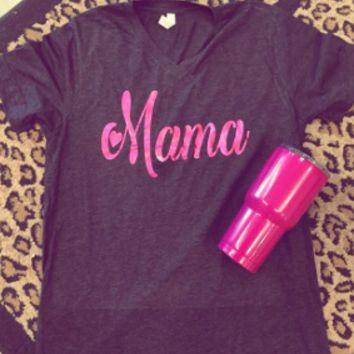 Pink Foil on charcoal v neck Mama with heart and number t-shirt