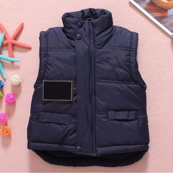 Solid Winter Outerwear Coats Baby Vest Jacket Children Clothing Plus Cotton Warm Clothes for Boy Girl Thick Toddler Waistcoat