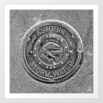 Astoria Storm Water, Monotone Art Print by kimroseadams