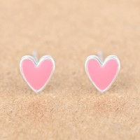 Trusta 100% 925 Sterling Silver Earring Fashion Cute Tiny Pink Glaze Heart Stud Earrings Gift For School Girls Kids Lady DS03