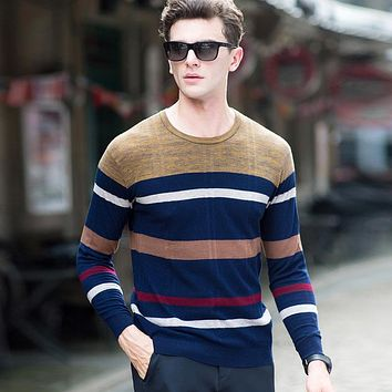 Men's Patchwork Striped Casual Sweaters Merino Wool High Quality Knitted Casual Pullover Sweater Coat