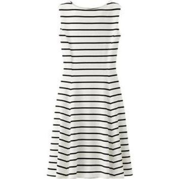 Uniqlo Flare Sleeveless Dress NWOT - Off White w/ Navy Blue Stripes - Size XS