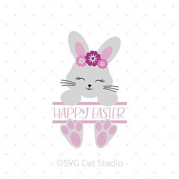 Split Easter Bunny SVG, Easter SVG, Easter Bunny Monogram svg, Bunny svg cut files for Cricut and Silhouette, svg files