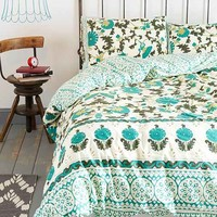 Magical Thinking Palace Floral Duvet Cover- Turquoise Full/queen