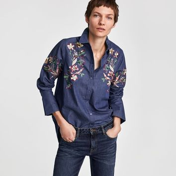 EMBROIDERED DENIM SHIRT DETAILS