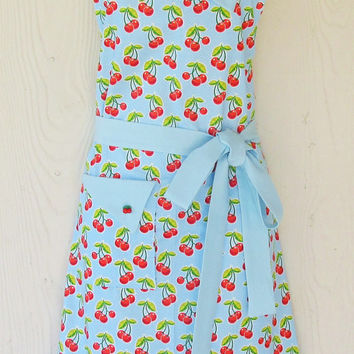 Blue Cherry Apron , Full Retro Apron , Polka Dots , Cherries , Gingham , Vintage Style , KitschNStyle
