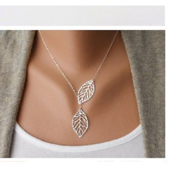 New Sliver Two Leaf Pendants Necklace Chain multi layer statement necklaces Woman