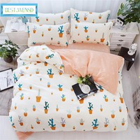 BEST.WENSD 100% bamboo fiber New Plant fruit Bedding Set lemon-deer- stripe-queen size bedroom sets with comforters Quilt cover