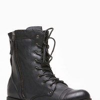 Bamboo Black  Side Zipper Combat Boots
