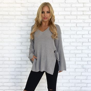 Timeline Knit Sweater Top in Grey