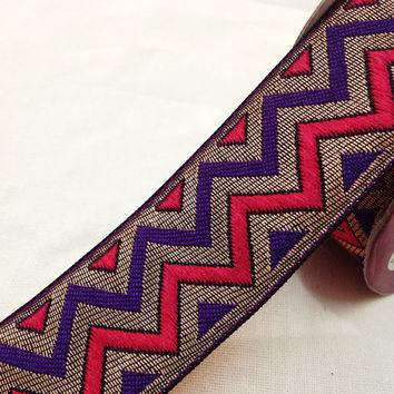 Brocade Border -  Purple, Hot Pink and Matt finish Gold - Zig-Zag Patern Border for Dresses / Ribbon / Brocade Lace / Emellishment