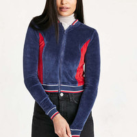 Silence + Noise Night Rider Velour Crop Track Jacket - Urban Outfitters