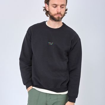 The Idle Man Sunday Club Embroidery Sweatshirt Black