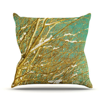 "Iris Lehnhardt ""Snow Covered Twigs"" Teal Brown Outdoor Throw Pillow"