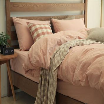 On Sale Bedroom Hot Deal Cotton Bed Sheet Rinsed Denim Bedding Set [11640718479]