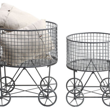 Laundry Baskets w/ Wheels, Set of 2, Laundry Hampers
