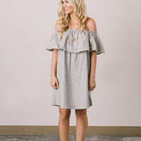 Sloane Grey Striped Off the Shoulder Dress