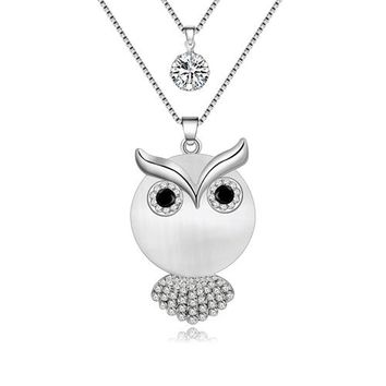 Statement Alloy Opal Owl Necklaces Pendants Long Rhinestone Chain Collar New Trendy Accessories Animal Jewelry For Women