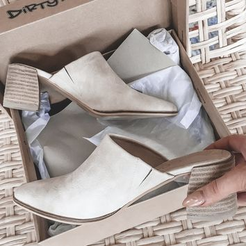 Tip Toe Taupe Heeled Mules