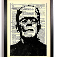 Repurposed Book Upcycled Dictionary Art Vintage Book Print Recycled Vintage Dictionary Page Frankenstein Buy 2 Get 1 FREE