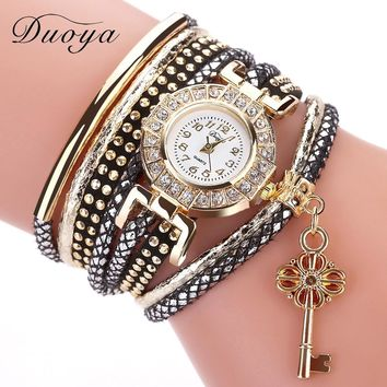 Duoya Brand Leather Strap Key Women Quartz Watch Dress Handmade Braided Bracelet Female Wristwatch Girl Casual Girl Gift Watches