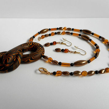 Brown and Gold Polymer Clay Snake Necklace, with Czech Glass Beads, Adjustable with Length Extender, Earrings Included, Reptile Jewelry