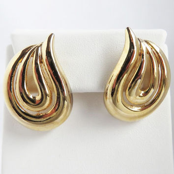 Vintage Gold Tone Swirl Pierced Earrings, Studs