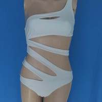 One Piece Swimsuit Bandage For Women Solid White and Blue One shoulder Cut Out Monokini cute swimwear