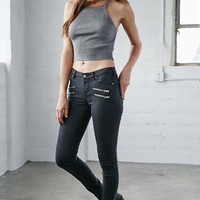 Bullhead Denim Co. Alley Black Moto Mid Rise Skinny Jeans at PacSun.com