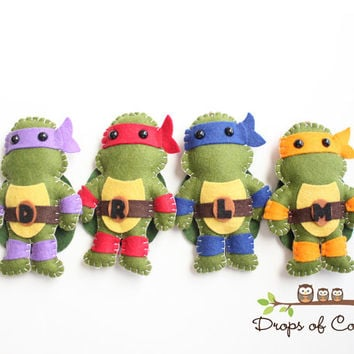 TMNT Teenage Mutant Ninja Turtles Plush Toys - Four Felt Plush Toy - Nursery or Kids Room Decor, Party Favor, Ornaments - Baby Crib Mobile