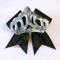 Tiara Cheer Bow with Glitter and Bling