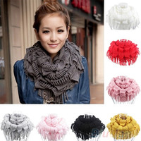 Women's Warm Knitting Wool 2 Circle Cable Knit Cowl Neck Tassel Scarf Shawl = 1958218692