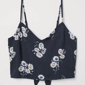 Short Top - Dark blue/floral - Ladies | H&M US