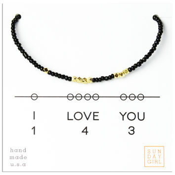 Friendship Bracelet - I Love You 143 - Black