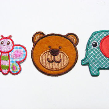 3 Iron on Applications Animals - Applique Applications Sew on Patches Patch Transfers Embroidered Animal Bear Butterfly Elephant Red Green