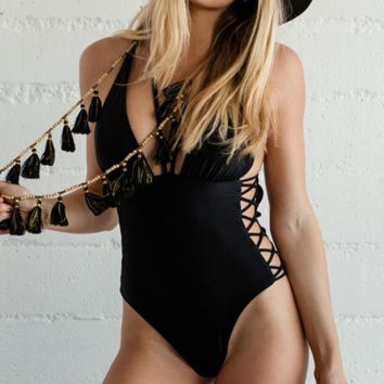 Summer new fashion solid color hollow straps one piece bikini swimsuit Black