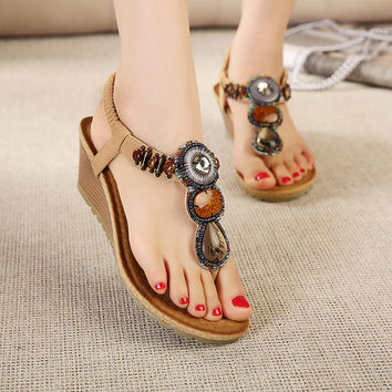 Summer Roman Flat Wedge Bohemia Rhinestone Sandals = 4804970692