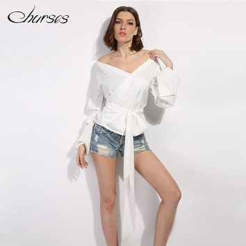 CHURSES ruffled off shoulder blouse shirt spring and summer sexy ruched sleeve cool blouse Women waist tie cotton top