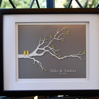 Personalized Custom Wedding Love Birds Tree Branch  by karimachal