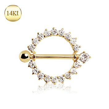 14Kt Yellow Gold WildKlass Nipple Ring with Round CZ