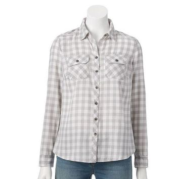 CREY7GX Croft & Barrow Flannel Shirt - Petite Size