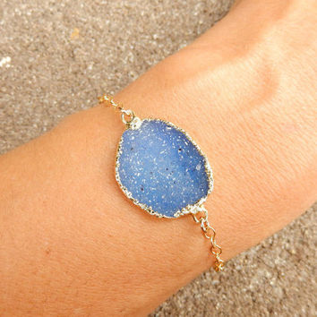 Blue Druzy Bracelet Freeform Quartz Crystal Drusy in Gold- Free Shipping Jewelry