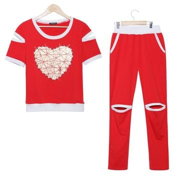 2016 Fitness summer sport suit women love heart gilding pearls tracksuits short sleeve tops and pants 2 piece set women suit