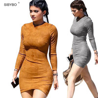 Vestidos 2017 Party Dresses Synthetic Leather Suede Sexy Club Women Winter Dress Kylie Jenner  Long Sleeve Bodycon Bandage Dress