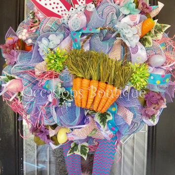 Easter Wreath, Bunny Wreath, Spring Wreath, Wreath for Easter, Large Wreath, Door Hanger, Front door Wreath